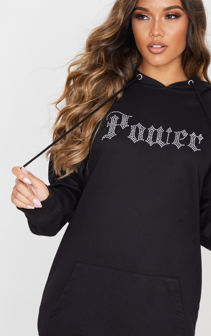 Black Oversized Diamante POWER Slogan Hoodie Dress 5