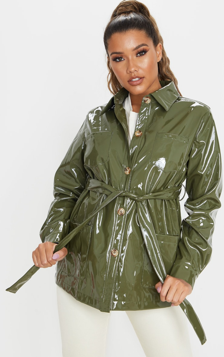 Olive Khaki Vinyl Belted Oversized Jacket 1