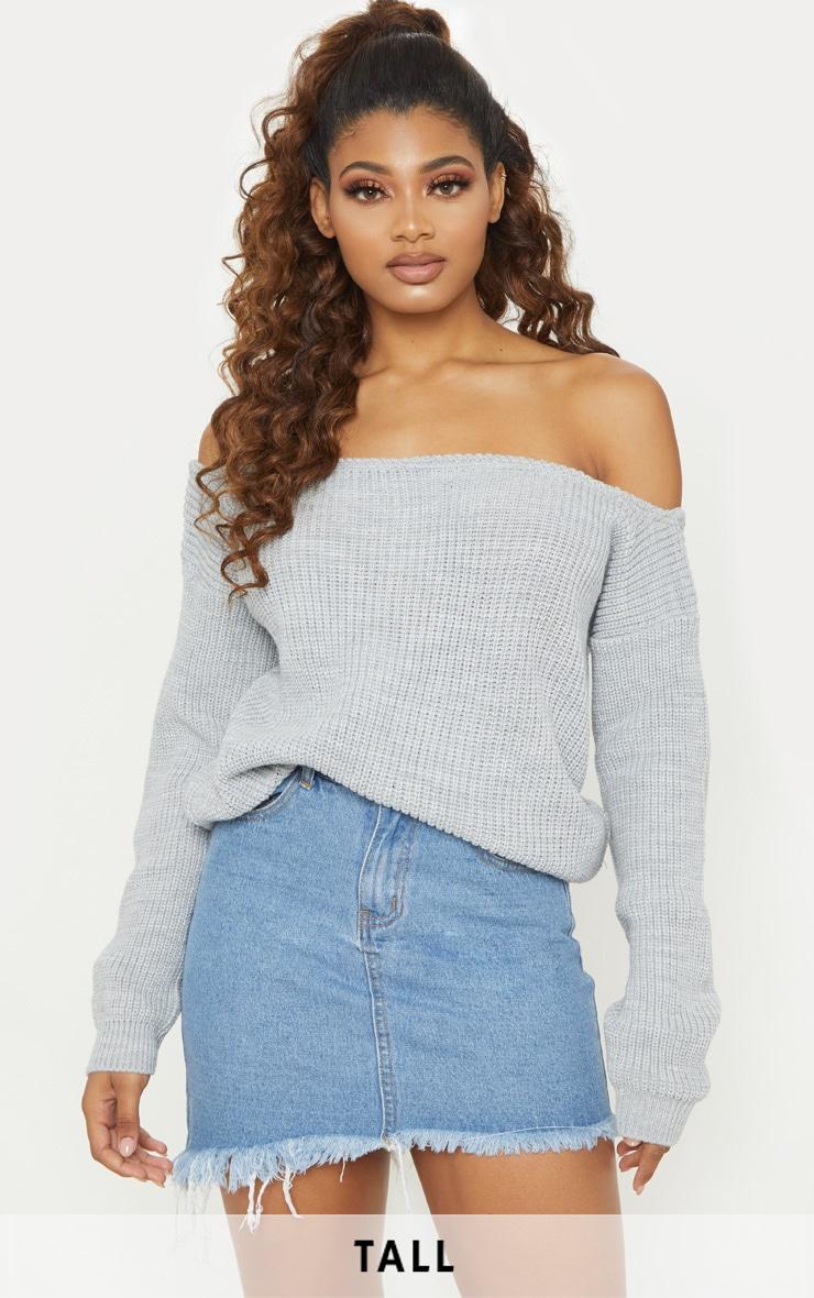 Tall Mid Wash Frayed Hem Asymmetric Denim Skirt 1