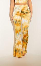 Orange Tie Dye Woven Flared Trousers 2