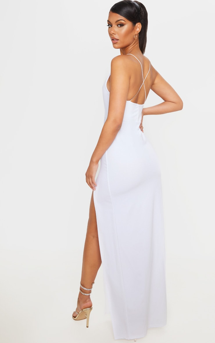 White Straight Neck Cross Back Maxi Dress 2