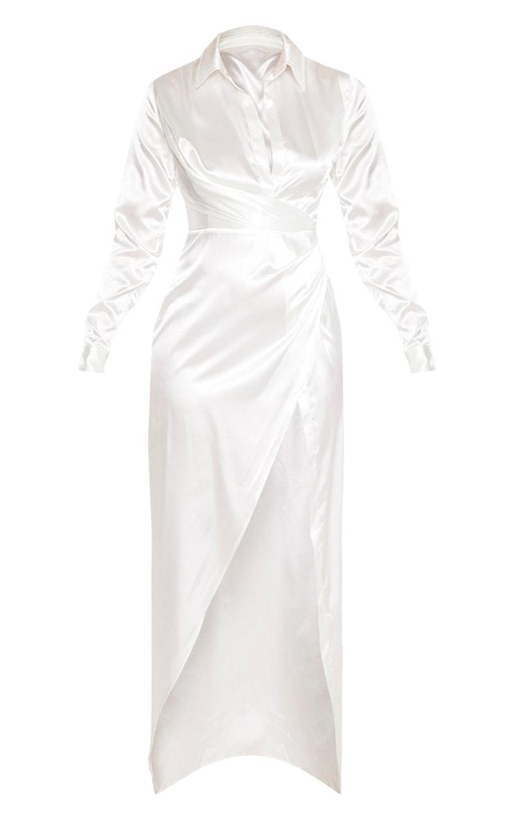 White Satin Drape Extreme Split Maxi Shirt Dress 3