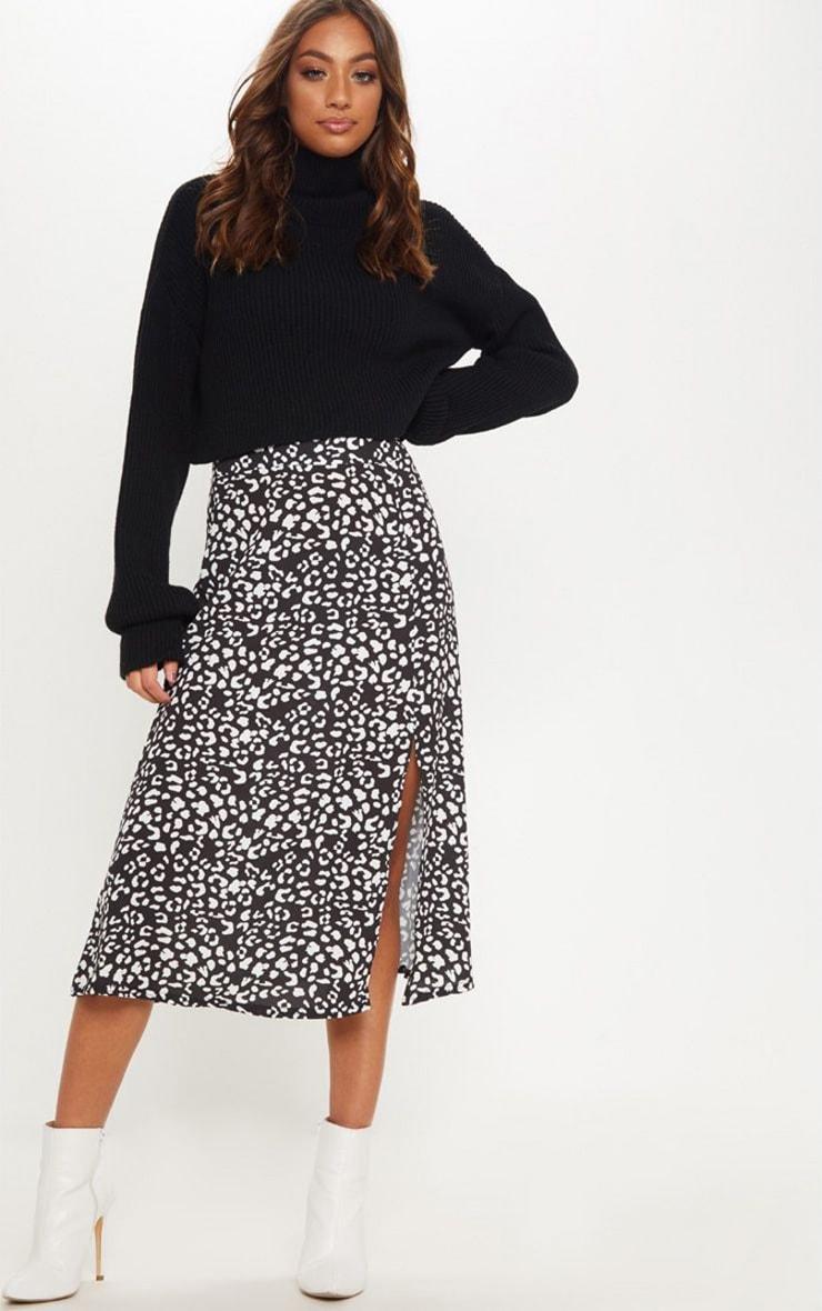 Black Leopard Print Floaty Midi Skirt 1