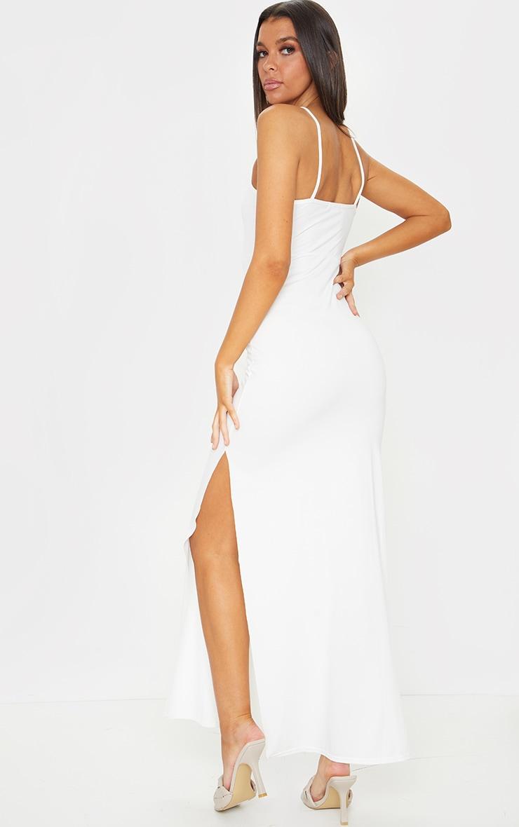 Cream Racer Neck Low Back Maxi Dress 2