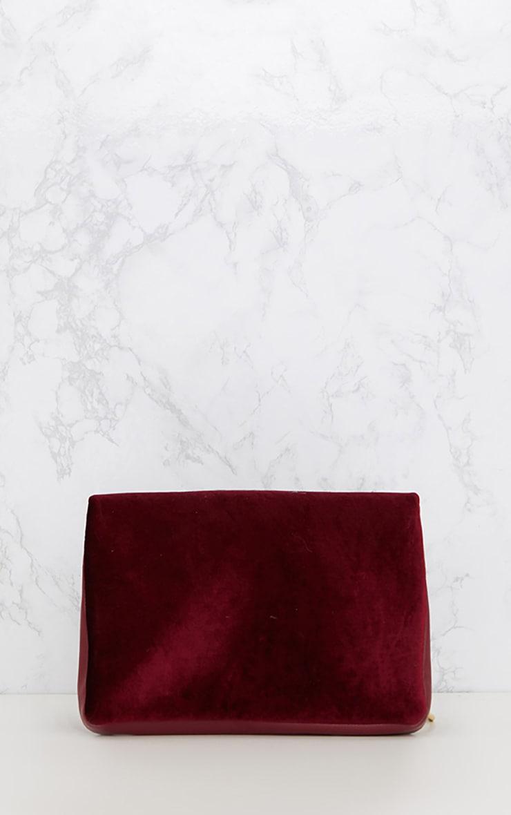 Burgundy Velvet Fold over Clutch Bag 4