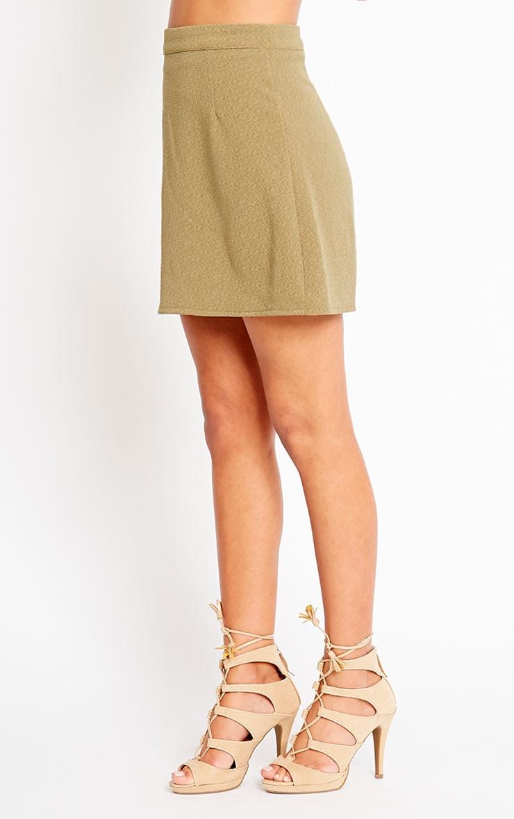 Rori Khaki Crepe A Line Mini Skirt 3