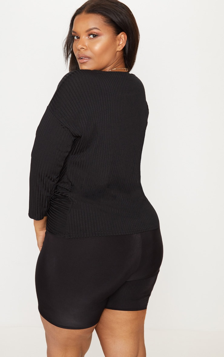 Plus Black Ribbed Wrap Front Top 2