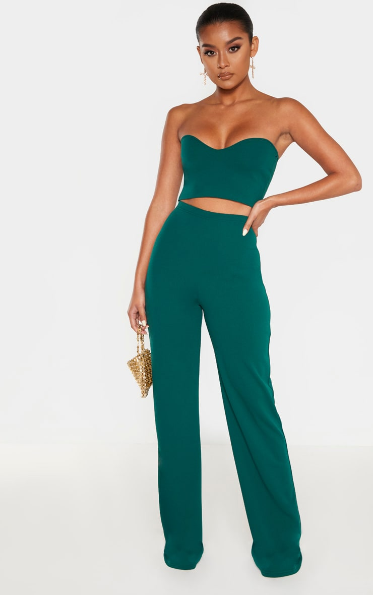 Emerald Crepe High Waisted Wide Leg Trouser 1