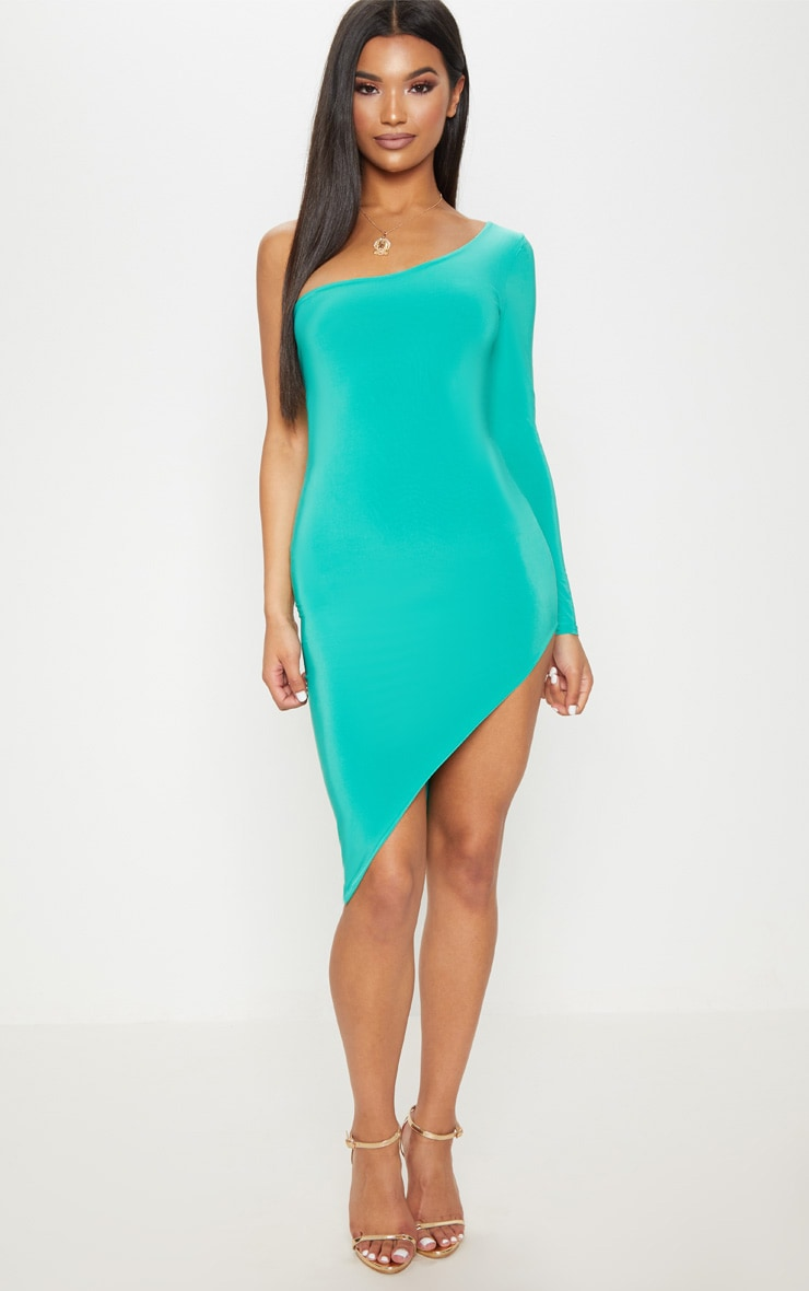 Turquoise One Shoulder Long Sleeve Exreme Split Dress 4