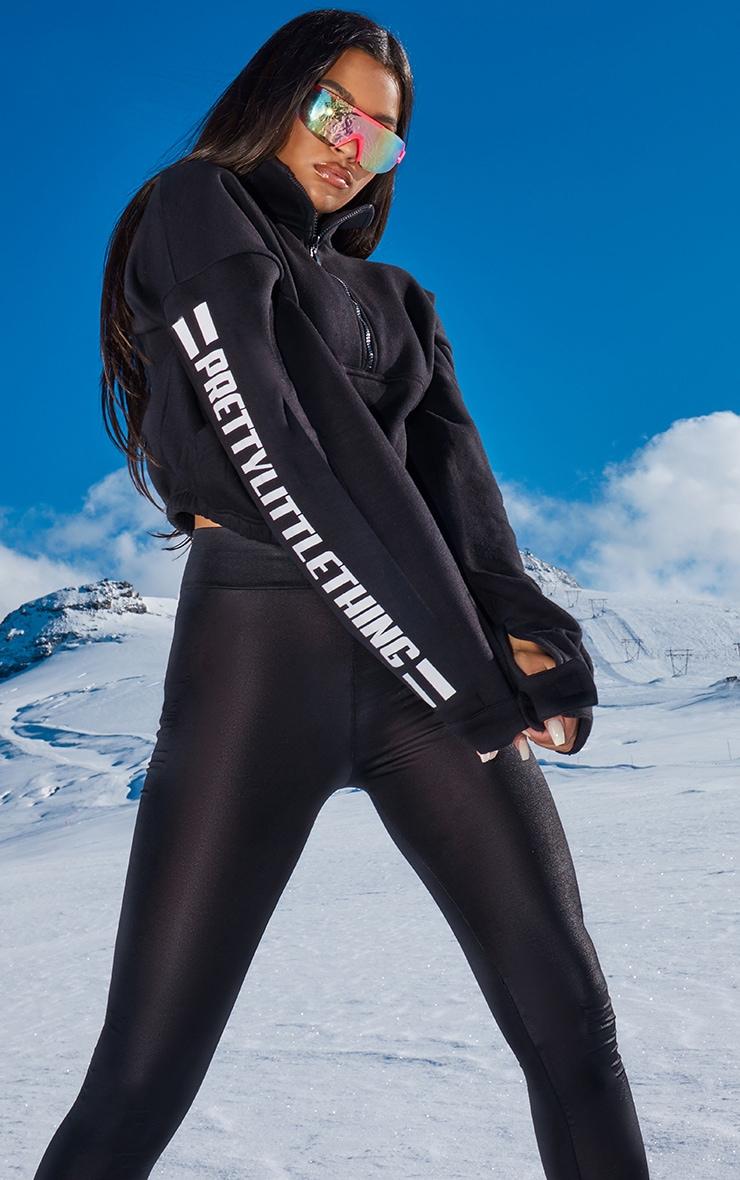 PRETTYLITTLETHING - Sweat noir à zipper avec bandes à logo