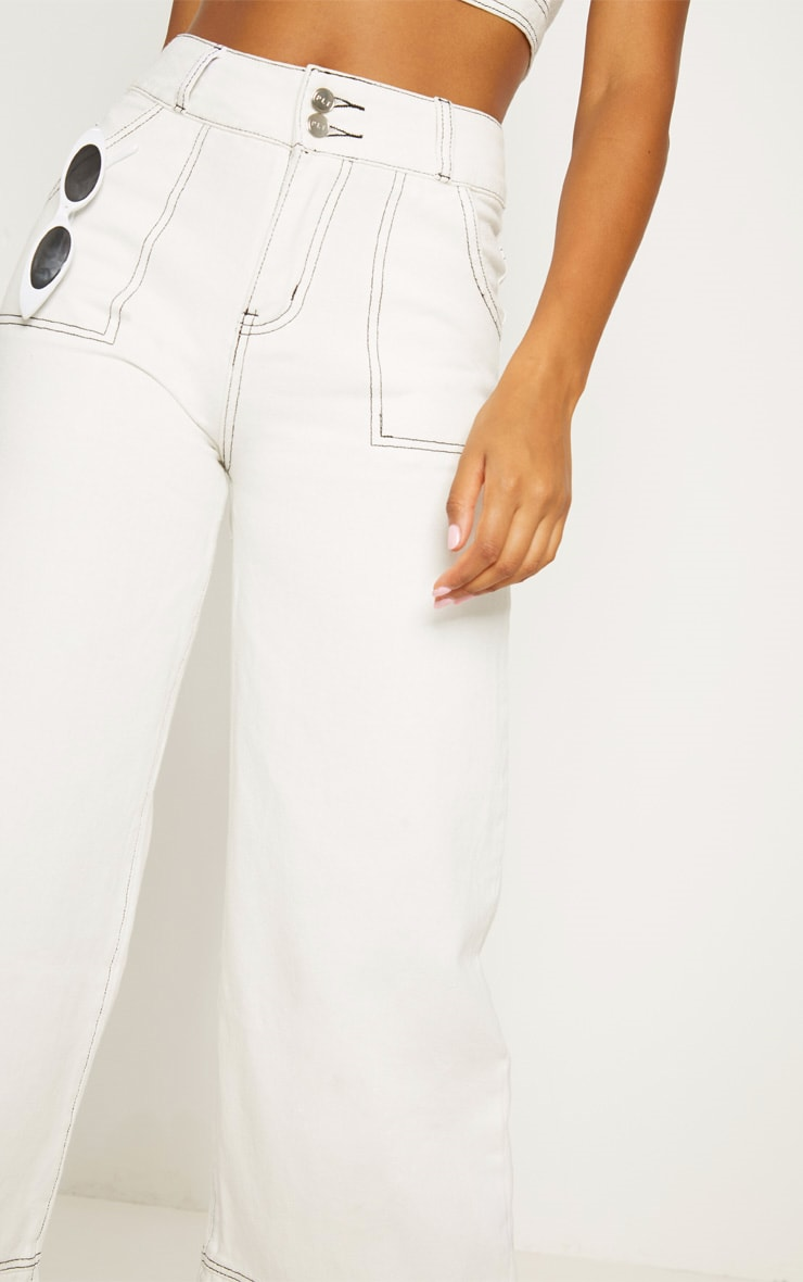 White High Waisted Denim Crop Flares 5