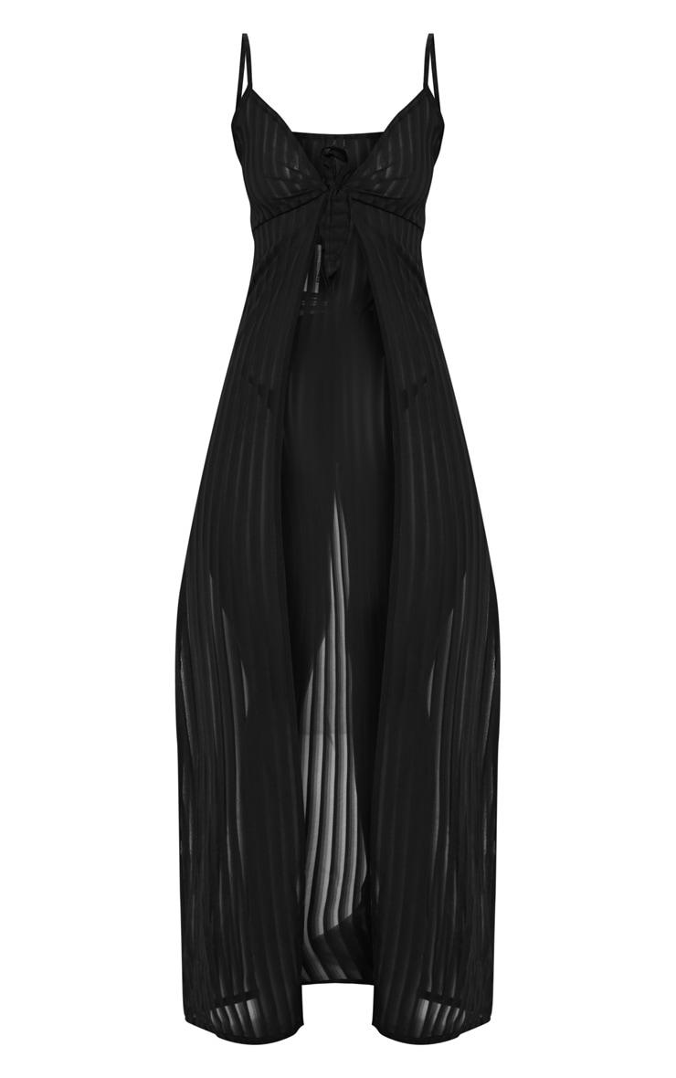 Black Stripe Chiffon Tie Front Beach Dress 3