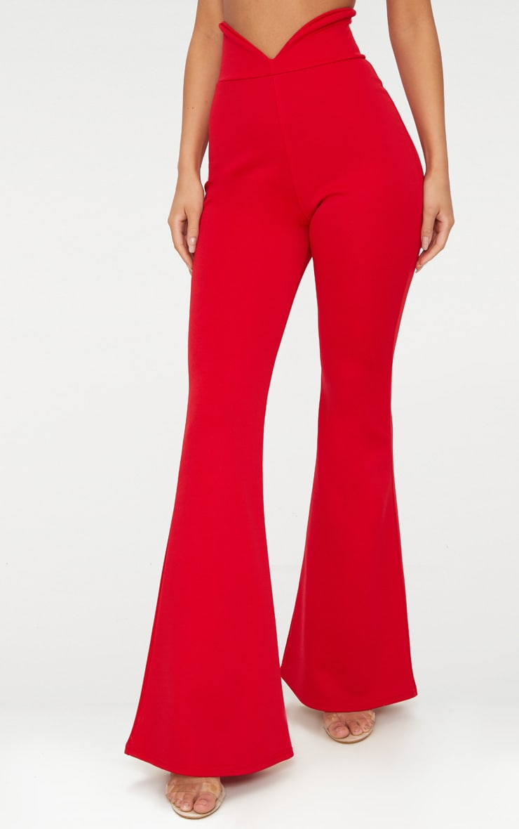 Red Scuba Curve Waist Band Detail Flared Pants  2