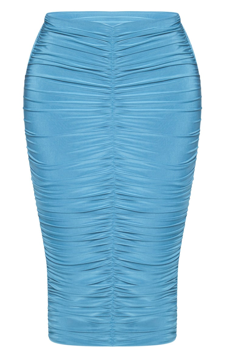 Shape Petrol Blue Slinky Ruched Midi Skirt 3