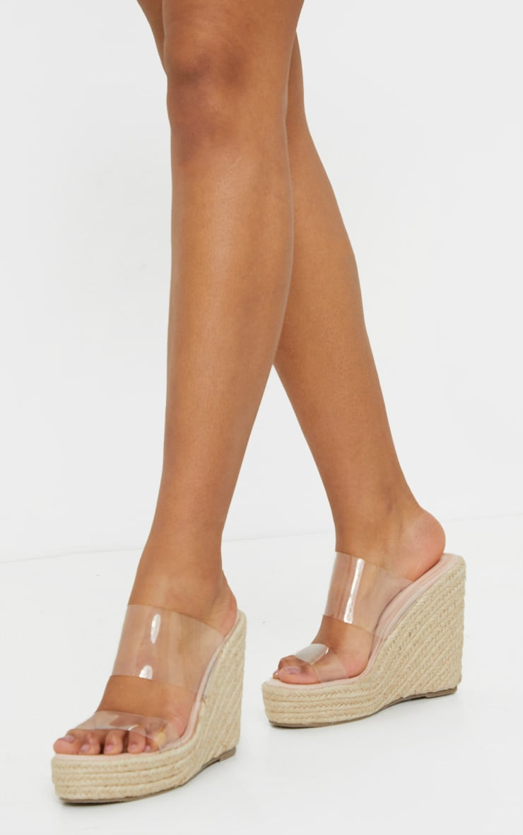 Nude Twin Strap Clear Mule Espadrille Wedges 2