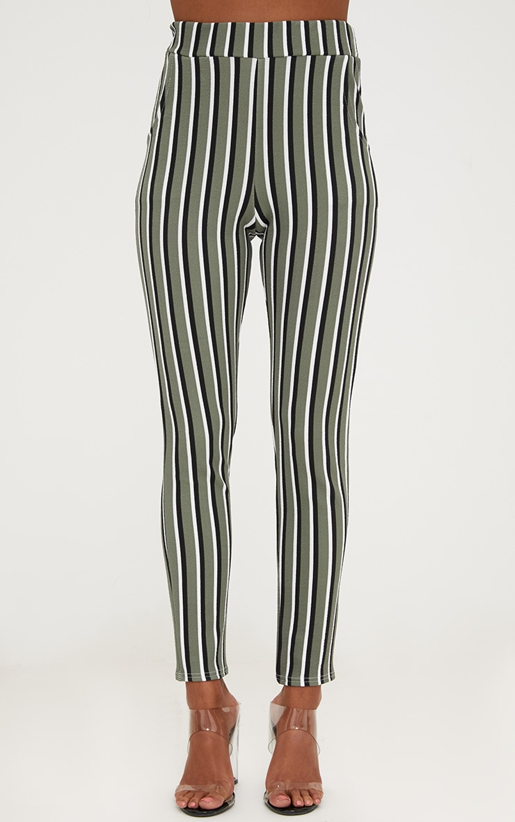 Khaki Vertical Stripe Skinny Trousers 2