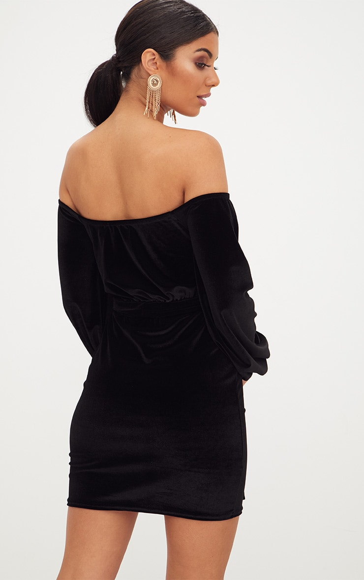 Black Velvet Balloon Sleeve Wrap Front Bardot Bodycon Dress 2