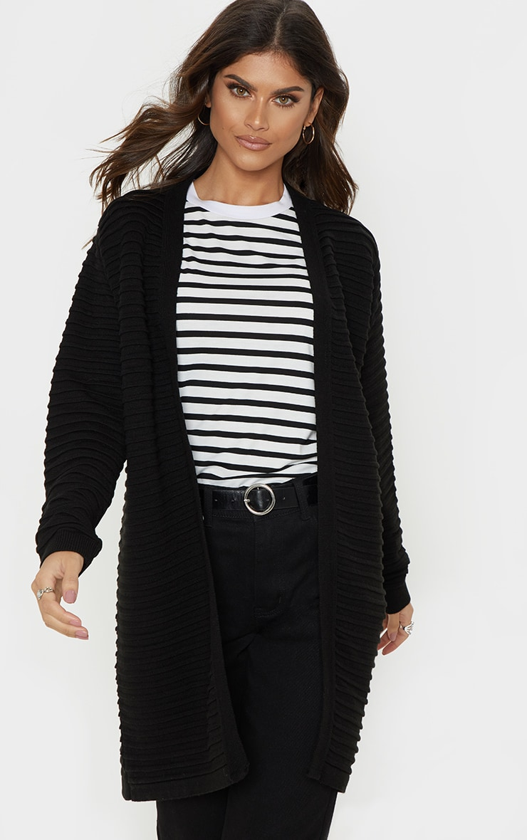 Black Chunky Ribbed Knitted  Cardigan  1