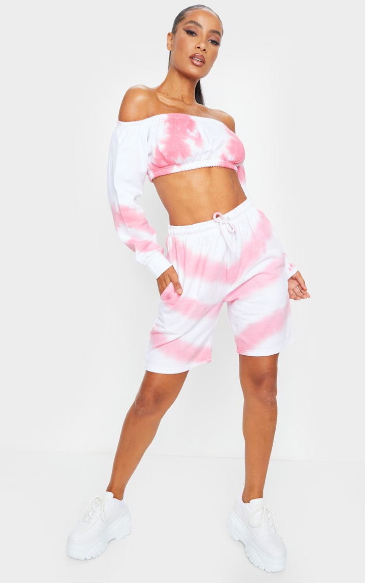 Pink Tie Dye Sweat Shorts 1