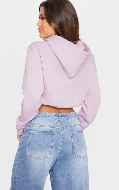 PRETTYLITTLETHING Dusty Lilac Pocket Toggle Crop Hoodie