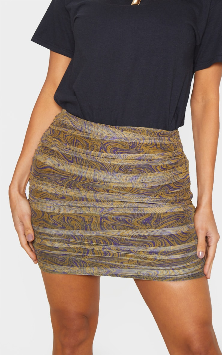 Mustard Geo Print Mesh Ruched Detail Mini Skirt  6