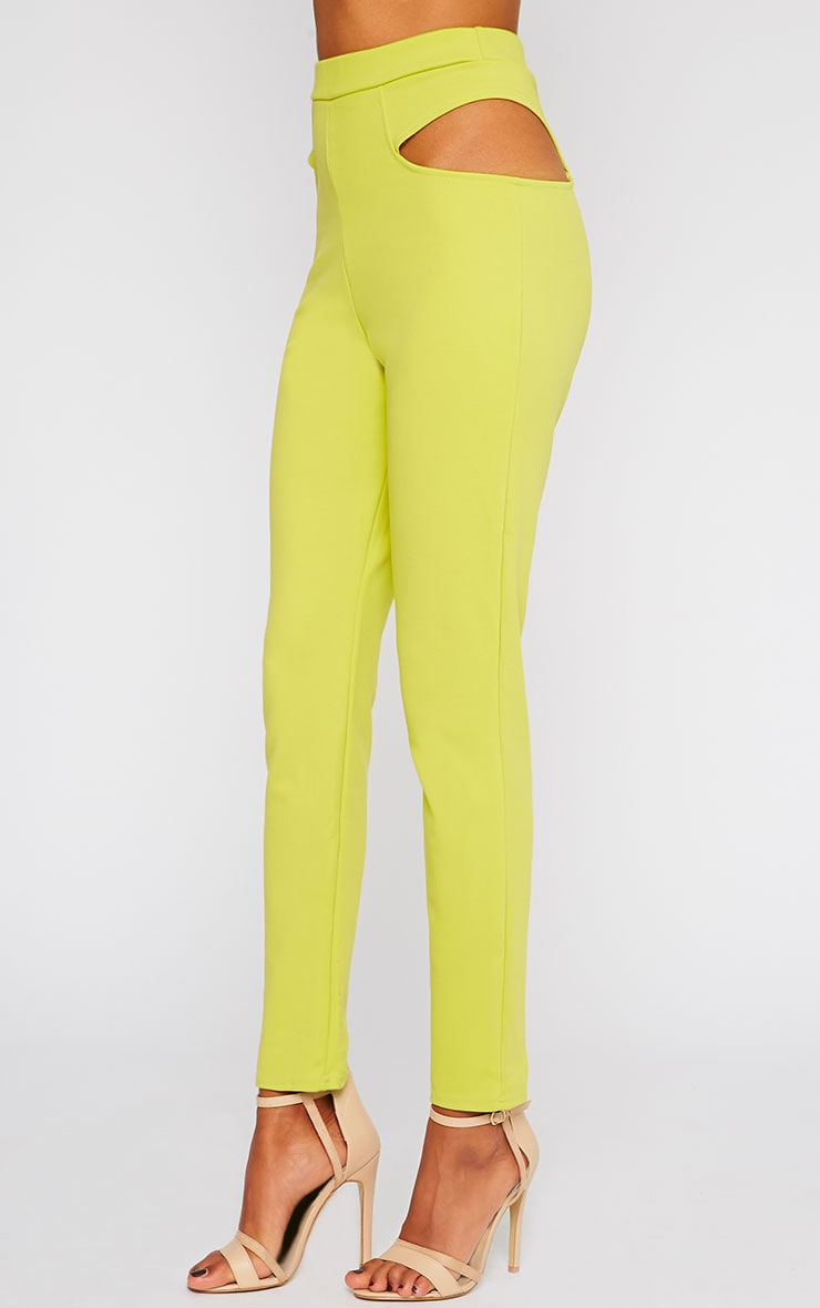 Zaylia Lime Cut Out Detail Trousers 5