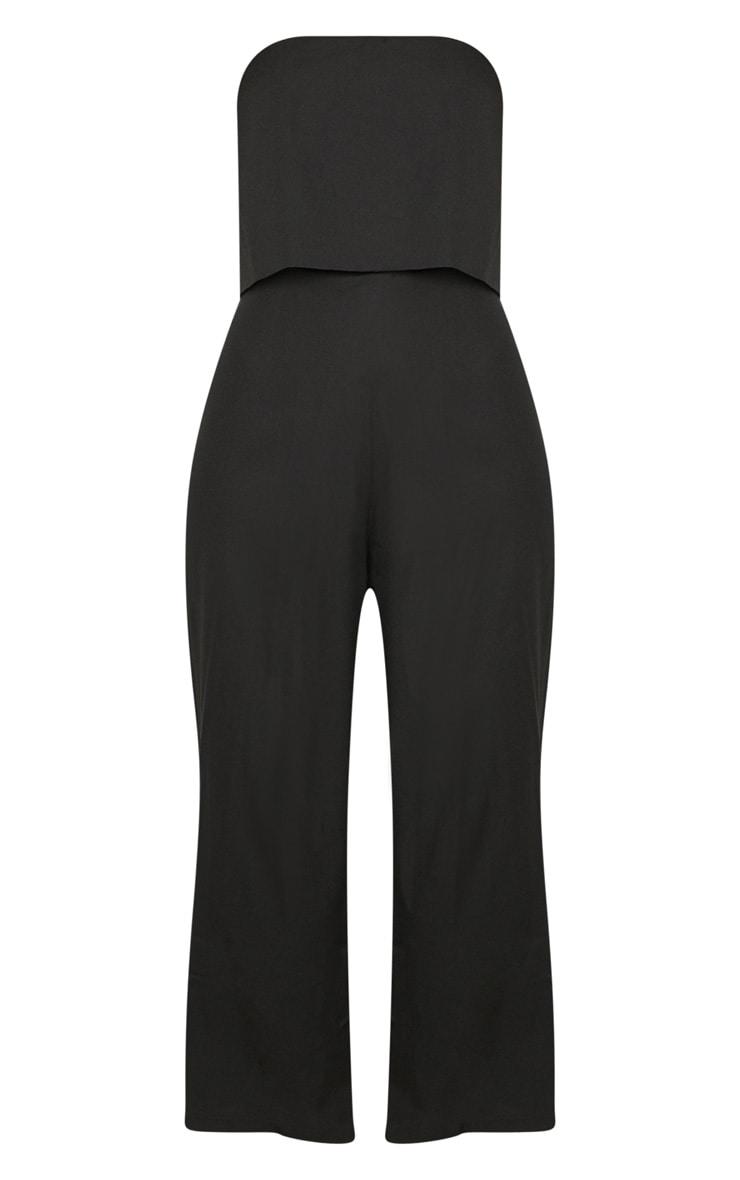 Black Bandeau Fold Detail Wide Leg Culotte Jumpsuit 3