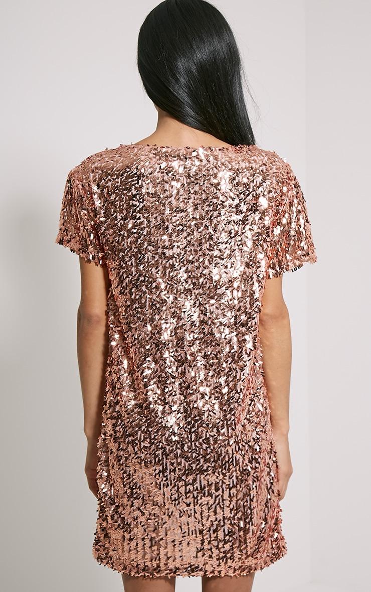Hilma Rose Gold Sequin Shift Dress 2