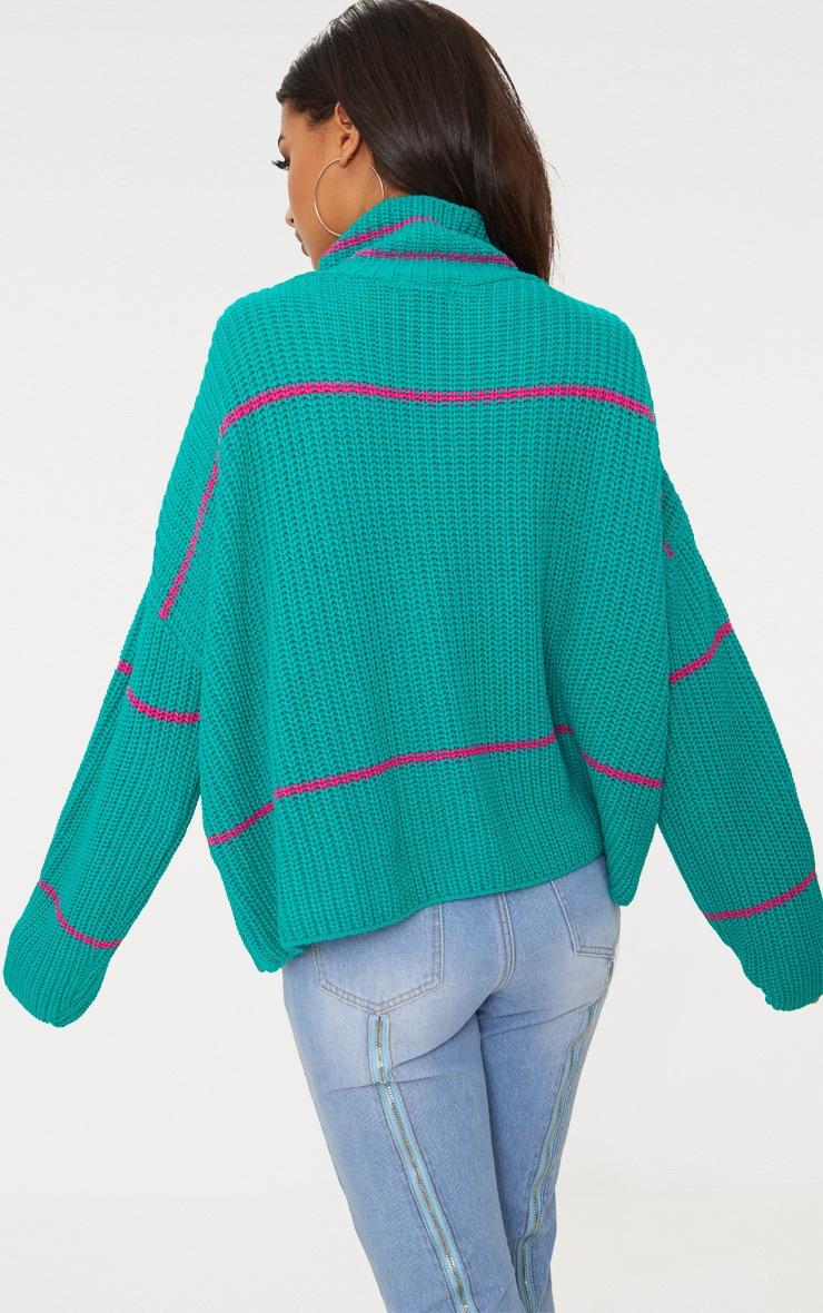 Emerald Green Stripe High Neck Jumper 2