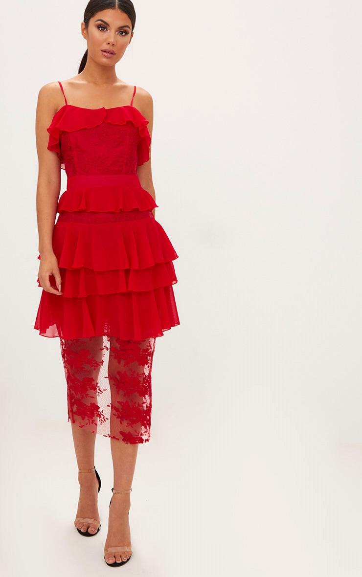 Red Strappy Lace Chiffon Layer Midi Dress 3
