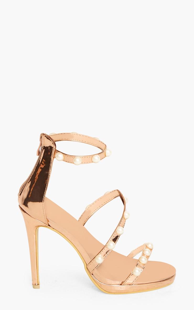 Rose Gold Pearl Triple Strap Heels 3