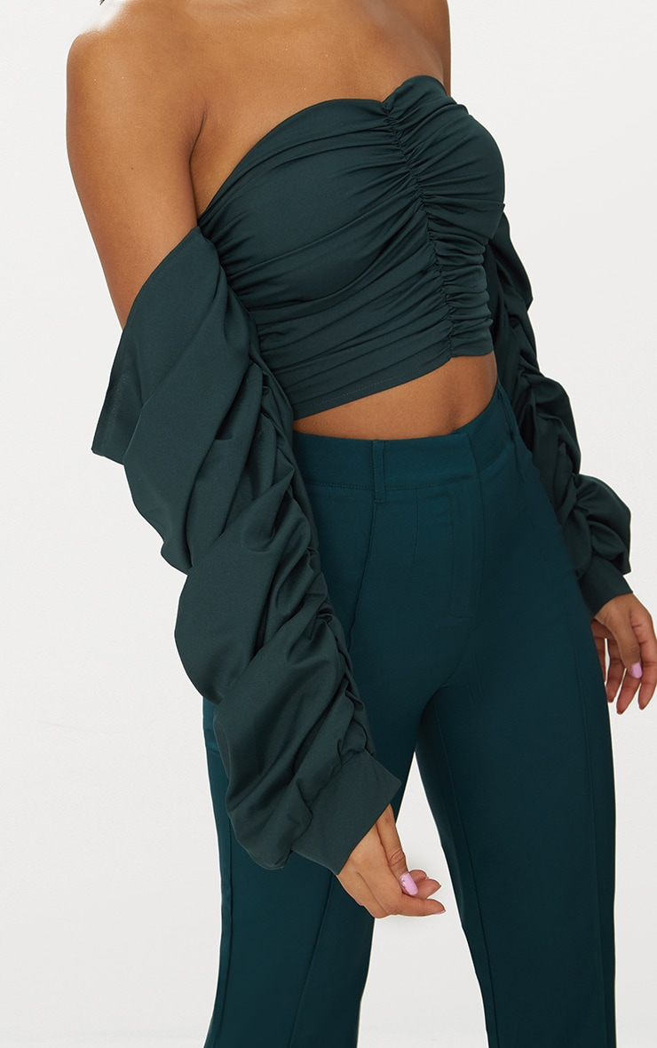 Green Ruched Front Long sleeve Blouse  5