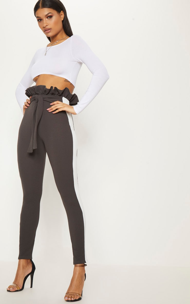 Charcoal Grey Side Stripe Paperbag Skinny Trousers