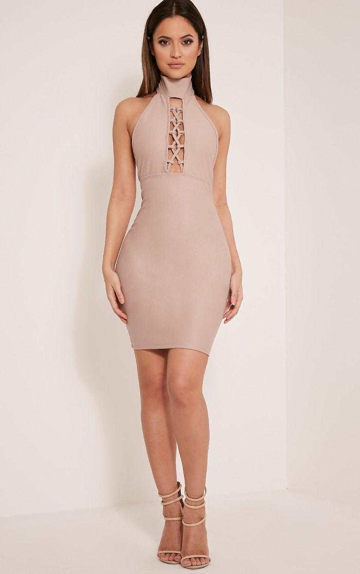 Jesseca Taupe Neck Detail Lace Up Crepe Bodycon Dress 5