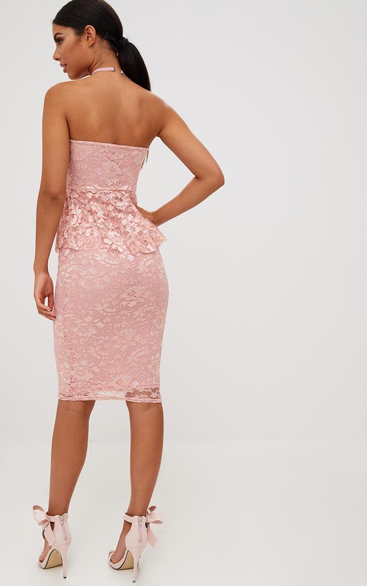 Dusty Pink Lace Frill Bandeau Midi Dress 2