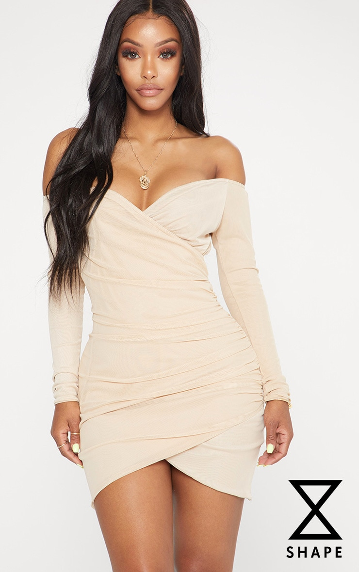 Shape Nude Mesh Ruched Bardot Bodycon Dress 1