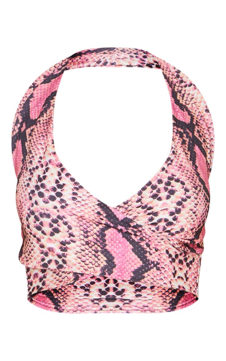 Pink Snake Print Cross Front Halterneck Bralet 5