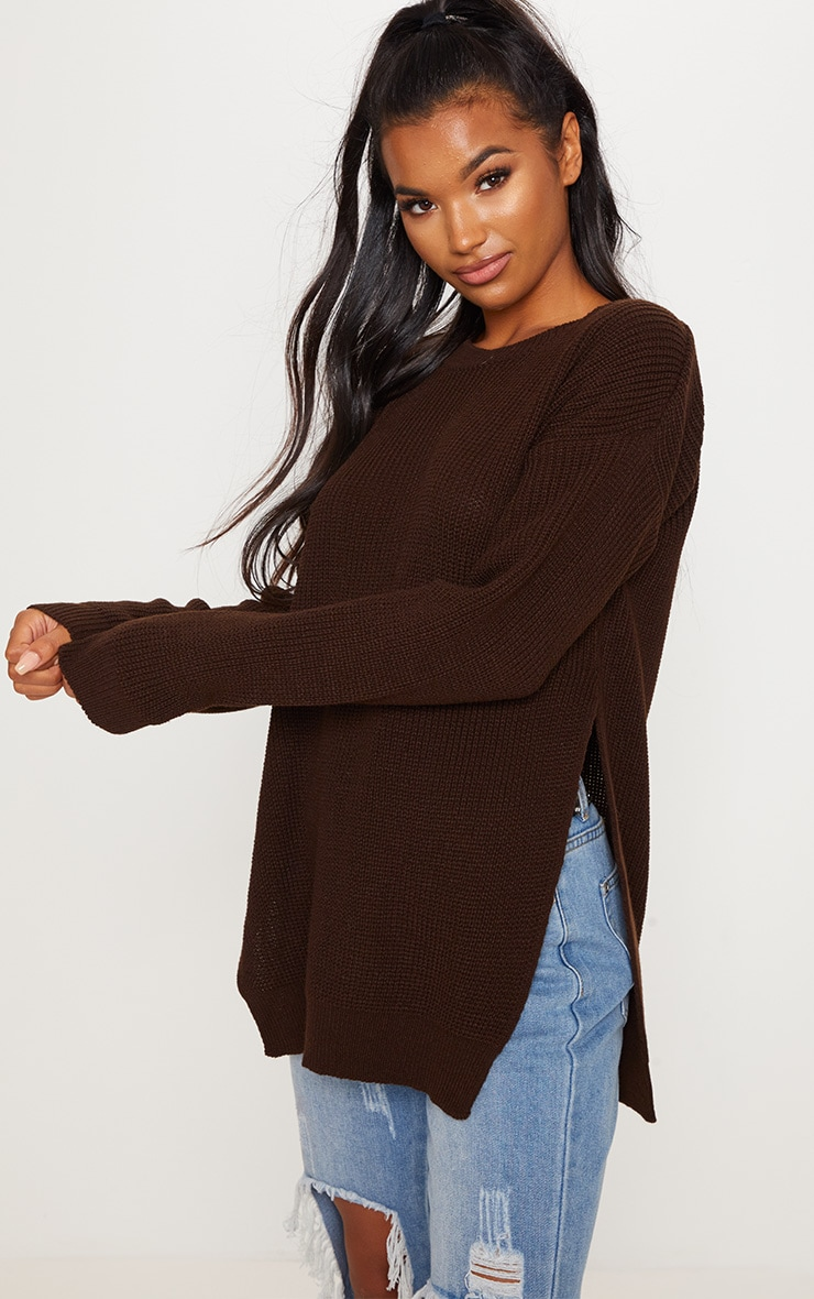 Chocolate Brown Round Neck Side Split Jumper  3