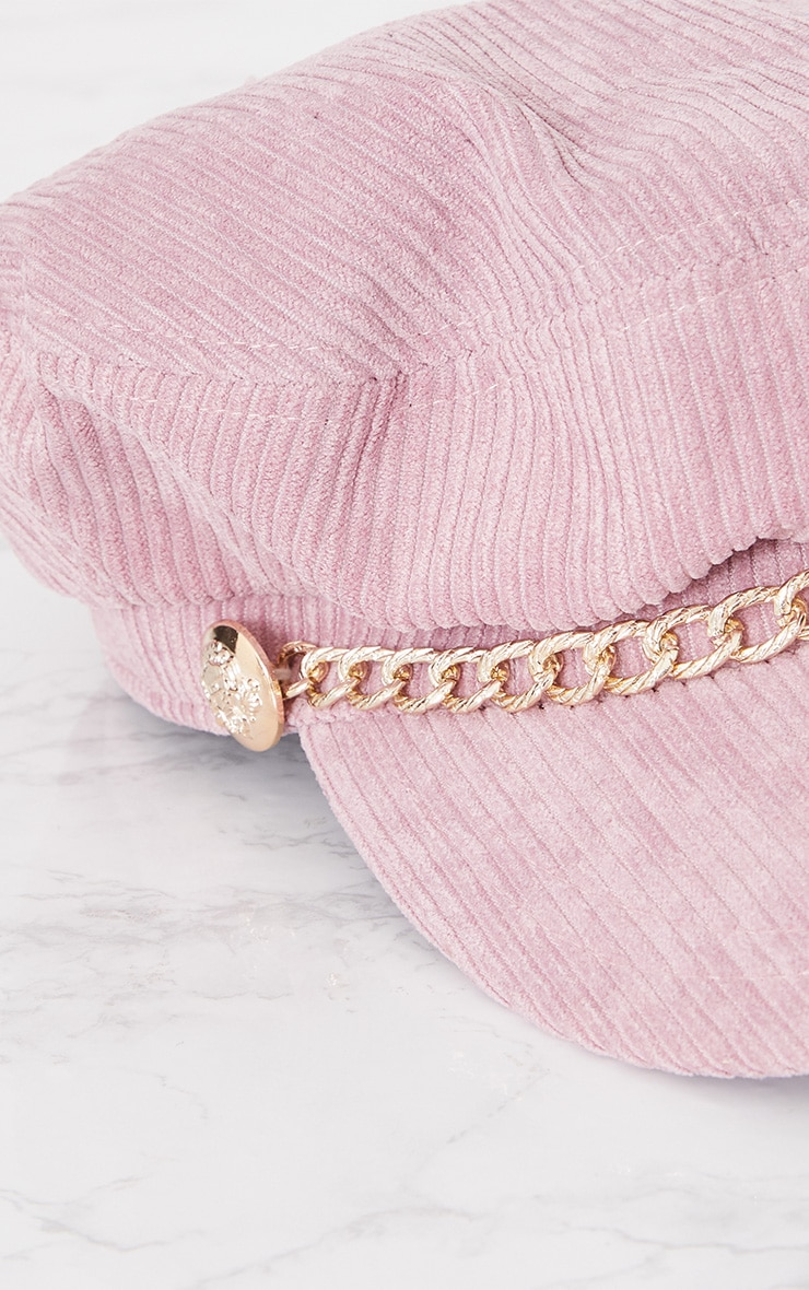 Pink Cord Baker Boy Hat With Chain 3