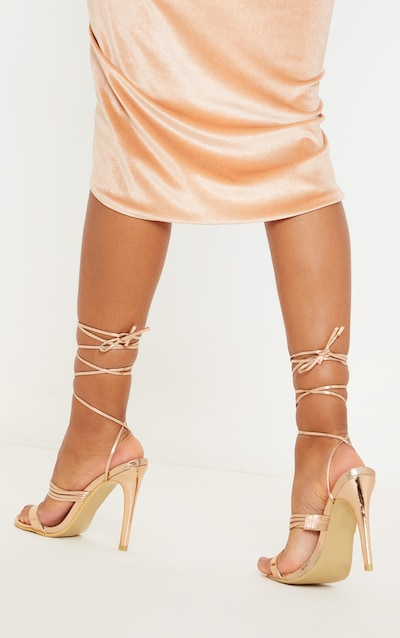 Rose Gold Thin Strappy Lace Up Heels