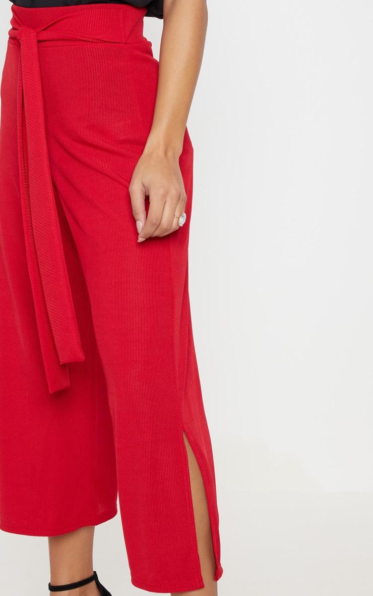 Red Ribbed Tie Waist Split Hem Culotte  5