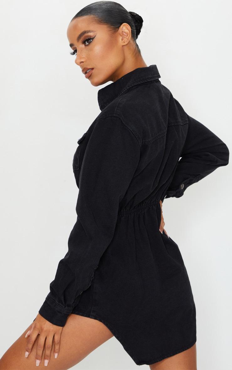 Washed Black Cinched Waist Long Sleeve Denim Dress 2