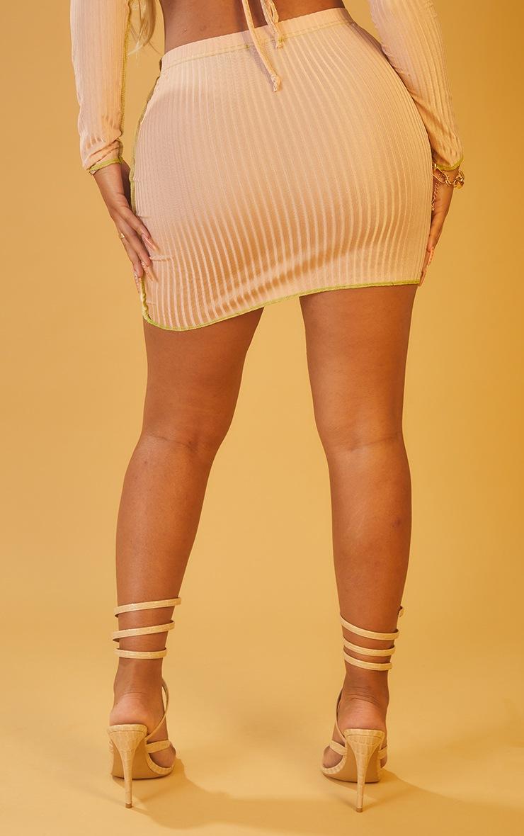 Shape Nude Rib Overlock Bodycon Skirt 3
