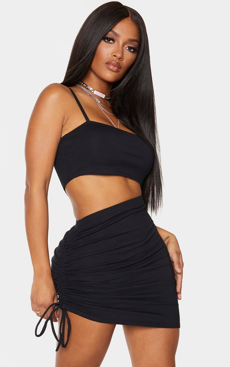 Shape Black Cotton Strappy Ruched Side Bodycon Dress 1