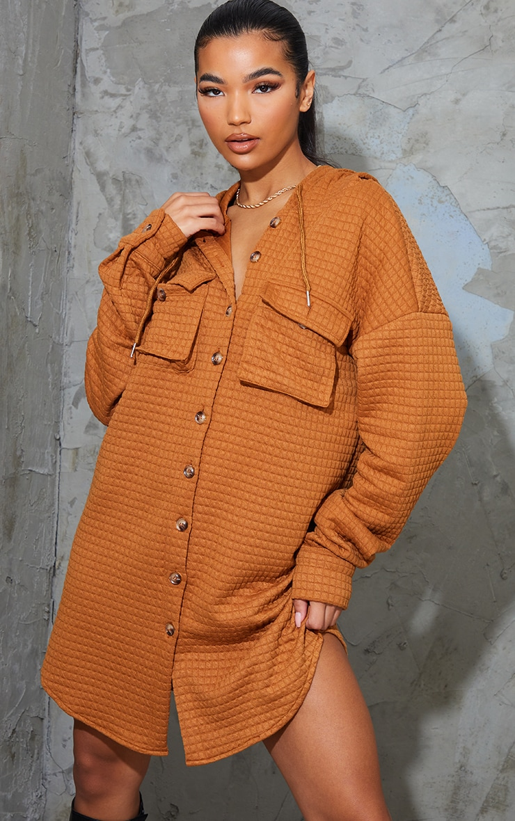 Camel Waffle Button Up Hooded Sweat Dress 1