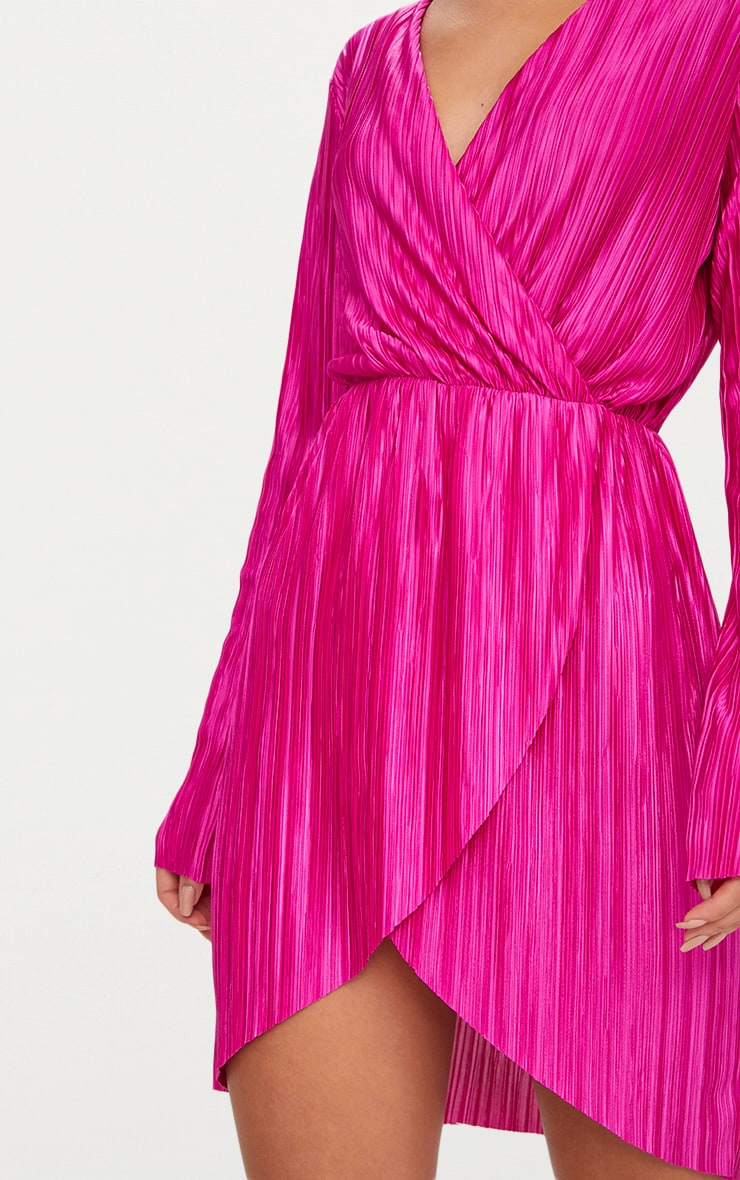 Hot Pink Long Sleeved Plunge Pleated Wrap Dress  5