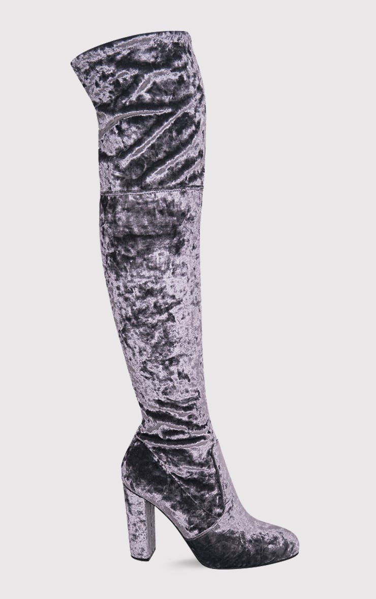 Bess Grey Crushed Velvet Heeled Thigh Boots 2