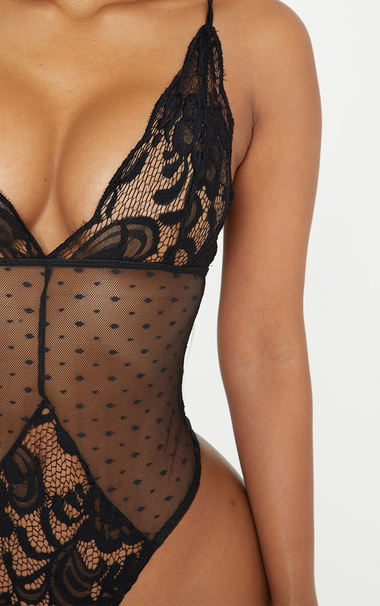 Shape Black Lace Dobby Mesh Bodysuit  6