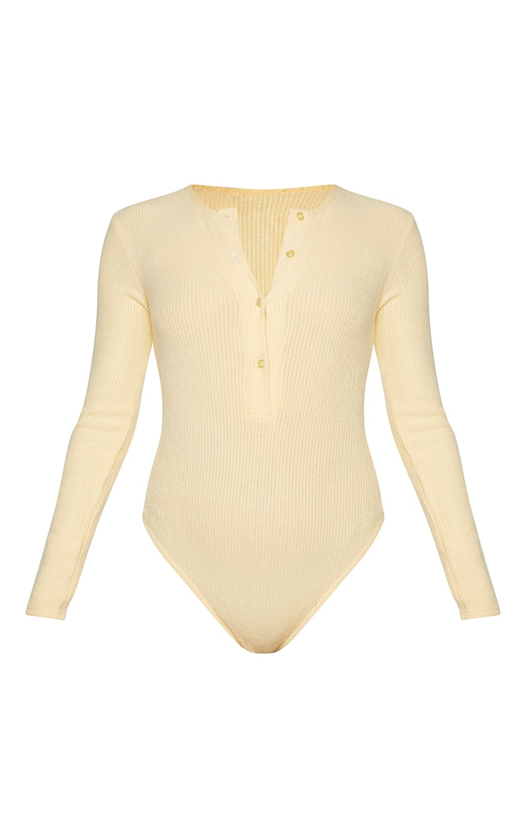Sand Brushed Rib Button Long Sleeve Bodysuit 5