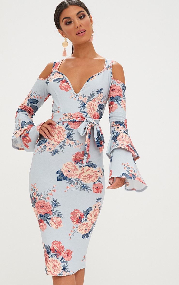 Ice Grey Floral Cold Shoulder Frill Sleeve Midi Dress 1